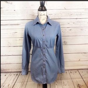 CAbi lightweight chambray button down tunic/dress